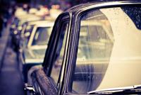 Traffic jam in 1969, New York, New York State, USA