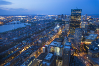 Aerial view of city at dusk, Boston, Massachusetts, USA