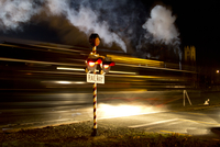 Steam train riding at night, Pleasant point, South Canterbury, New Zealand