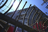 Barbed wire, Downtown, Los Angeles, California, USA