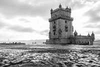 Black and white view of Belem tower, Belem, Lisbon, Portugal