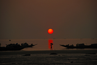 Red sun over water, Bakkhali, Bengal