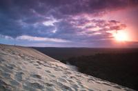 Sunset over sand dunes, France