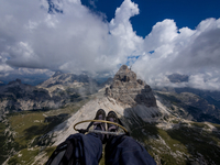 Flying above mountains, Dolomites, Italy