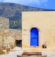 Blue doors in village, Greece