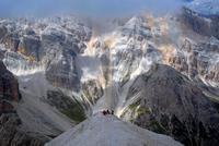 Hikers on Tofana di Rozes, Province of Belluno, Veneto, Italy
