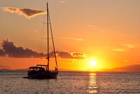 Sailboat on sea at sunset, Croatia