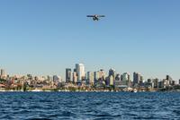 Seaplane over Seattle skyline, Seattle, Washington, USA