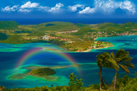 Landscape of islands with rainbow, Le Marin, Saint Anne, Martinique