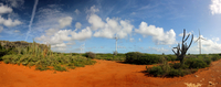 Panoramic view of Hato Plains on sunny day, Curacao