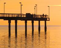 Pier silhouette during sunset, Seattle, Washington, USA