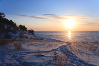 Sunrise over lake Baikal in winter time, Siberia, Russia