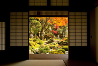 Open door with view of Japanese garden, Tsuwano, Shimane Prefecture, Japan