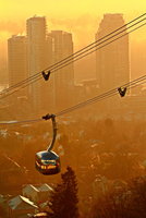 Cable car over city, Portland, Oregon, USA
