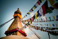 Buddhist prayer flags on Boudhanath stupa, Kathmandu, Nepal