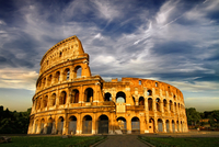 Colosseum under cloudy sky, Rome, Italy