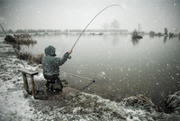 Fishing in snow, UK