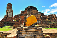 Buddha statue with temple ruins in background, Phra Nakhon Si Ayutthaya, Thailand