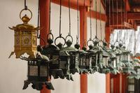 Metal lanterns hanging on row, Kasuga Grand Shrine, Kansai, Japan