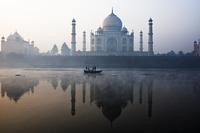 Taj Mahal and boat on river Yamuna, Agra, Uttar Pradesh, India