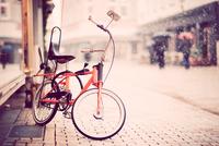 Bicycle on cobblestone pavement in Bielefeld, North-Rhine Westphalia, Germany