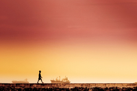 Silhouette of boy walking by sea, Philippines