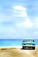 Car on beach, Cuba
