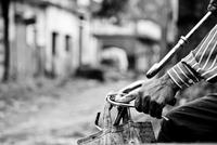Man holding umbrella and riding bicycle, Sultanpur, Uttar Pradesh, India