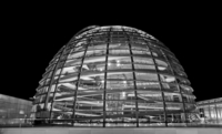 Reichstag modern dome at night, Berlin, Germany
