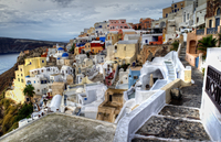 Colorful townscape, Oia, Santorini, Greece