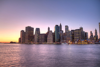 Lower Manhattan skyline at sunset, Ney York City, New York State, USA