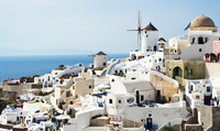 View of town during day, Oia, Santorini, Greece