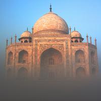 Taj Mahal in fog, Agra, India
