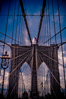 Low-angle view of Brooklyn Bridge, Brooklyn, New York City, New York State, USA