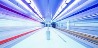 Illuminated subway station, Nuremberg, Bavaria, Germany