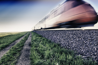 Train travelling at high speed