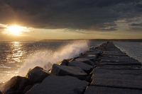 Waves hitting breakwater, Gloucester, Essex County, Massachusetts, New England, USA