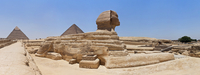 Panorama of Sphinx and Great Pyramids, Giza, Egypt