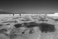 People walking on frozen lake, Salta, Jujuy, Argentina