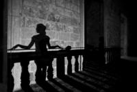 Shadow silhouette of woman, Palazzo Risolo, Specchia, Apulia, Italy