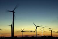 Wind turbine silhouettes, Dithmarschen, Schleswig-Holstein, Germany