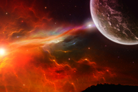 Fiery cosmic scape with planet and nebula
