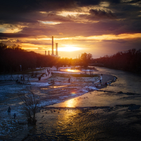Isar River in winter, Munich, Bavaria, Germany