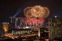 Fireworks over city, Singapore