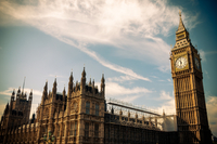 Low angle view of Westminster and Big Ben, London, UK