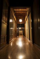 Wooden hallway in hotel