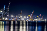 Harbor with construction machinery at night, Fremantle, Perth, Australia