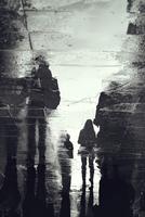 Pedestrians' reflections in puddle, Sarajevo, Bosnia and Herzegovina