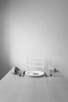 Place setting and human hands on table, Zapopan, Jalisco, Mexico