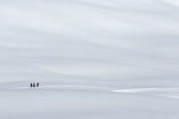 Three skiers walking in mountains, Melchsee-Frutt, Switzerland, Swiss Alps